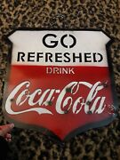 Go Refreshed Drink Coke Coca Cola Tin Metal Die Cut Out Sign Hanging Chain Big