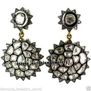 4.31cts Genuine Rose Antique Cut Diamond Silver Vintage Danglers Earring Jewelry