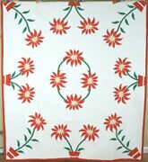 Vibrant Vintage 40and039s Holiday Poinsettia Applique Antique Quilt Great Colors