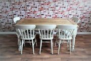 Rustic Farmhouse Extending Dining Table Set Painted Chairs And Benches - Seats 12