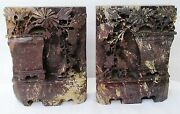 Antique Chinese Asian Oriental Hand Carved Soapstone Bookends/sculptures