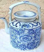 Antique Old Chinese Asian Oriental Porcelain Teapot With Blue Flowers