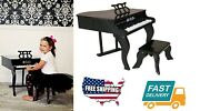 Home Room Fancy Baby Kids Musical Learning Music Piano Grand With Bench Set Blk
