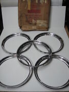 1960 61 62 63 64 Ford Fairlane Galaxie Trim Rings Nos Set Of Five In Box