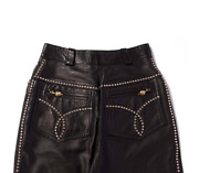Gianni Versace Epic Leather Pants Gold Studds Collector Rare Vintage 90s Size Xs