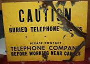 Shot Up Telephone Buried Cable Sign Americana Man Cave Wall Hanger Enamel Yellow