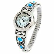 Silver Turquoise Decorated Womenand039s Semi-stretch Bracelet Watch