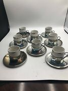 F.b. Rogers 8silverplate 2.5 X 2 Demitasse Cup And Saucers Vintage Brazil
