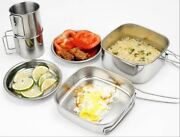 Stainless Steel Outdoor 6 Pcs Set Camping Pot Picnic Tableware Portable Cookware