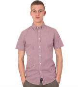 Three Stroke The Classic Shirt Ts032 Col.red Short Sleeve Casual Style Modernist