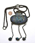 1930and039s Chinese Solid Silver Enamel Perfume Pouch Bag Shaped Necklace Charms