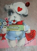 Vintage 1930s Valentine's Card W/real Wrigley's Doublemint Stick Of Gum Rare
