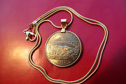 Gold Plated West Virginia 25c Coin Pendant W/ 18k 24 Gold Filled Snake Chain