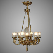 Louis Xvi Chandelier-- High Quality Cut Glass And Gilded Bronze