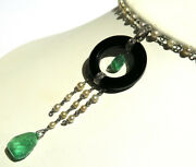 Deco Style Necklace With Pearl Black Onyx Diamond And Emerald