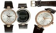 New La Fontaine And Co Lft-0425l Womenand039s Starlight Silver Dial Brown Leather Watch