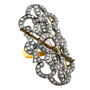 Victorian 3.96cts Genuine Rose Antique Cut Diamond Silver Wedding Ring Jewelry