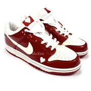 Nwt Nike Dunk Low Valentines Day 2004 Varsity Red White Heart Sneakers Authentic