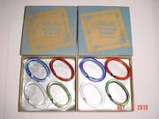 Lot Of 8 Vintage Acrylic Lucite Plastic Napkin Rings 4 Colors In Original Boxes