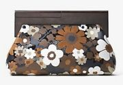 Nwt 1550 Collections Stanwyck Floral Intarsia Leather Clutch