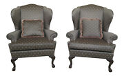 47353ec/54ec Pair Ethan Allen Ball And Claw Mahogany Wing Chairs