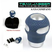 For Chevy Chrysler M12 M8 M10 Threadusa Silver Blue Leather Manual Shift Knob