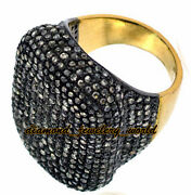 Vintage Style 6.78ct Genuine Pave Rose Cut Diamond Silver Cocktails Ring Jewelry