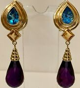 14k Yellow Gold Blue Topazcitrine And Amethyst Earrings