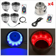4pcs 14 Led Stainless Steel Car Boat Cup Drink Holder With Rgb Remote Controller