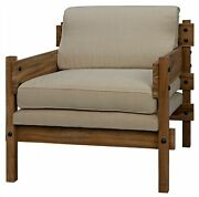 31 W Set Of 2 Occasional Chair Rustic Teak Wood Frame Off White Canvas Cushions