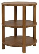 26 T Set Of 2 Side Table Round Three Tier Shelving Hand Crafted Solid Teak Wood