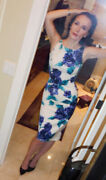 Pinup Couture Amelia Floral Dress Xs Blue And White Midi Dress + Jacket + Belt
