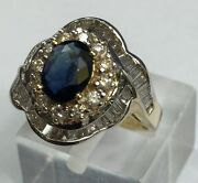 Majestically Diamond And Sapphire Dinner Ring . Rare To Find