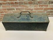 Vintage Used Rem Line Durable Portable Metal Toolbox Tool Box Container Storage