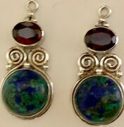 Sterling Silver Garnets And Azurite Drops