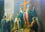 Authentic Large Antique Russian Icon Exaltation Of The Cross