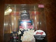 Never Opened Vintage Budweiser Bar Stand With Pilsna Glasses And Bottle Opener