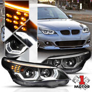 Black Dual [3d Halo] Projector Headlight Led Signal For 04-07 Bmw E60 5-series