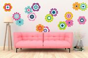 Retro Flowers Hippy Wall Stickers Pack 60s 70s Vintage Floral Cool Decal Art