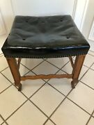 Antique Vintage French Walnut And Black Leather Tuffed Footstool W Brass Brads