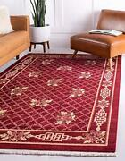 New Unique Loom Antique Finish Chinese Pattern Red Area Rug 8and039 X 10and039
