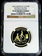 1993 Gold Norway 1500 Kroner Cycling Championships Coin Ngc Proof 69 Ultra Cameo
