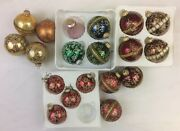 Christmas By Krebs Assorted Colors Glitter Stencil Glass 19 Ornaments Vintage