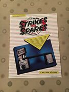 Bally/midway Strikes And Spares Video Arcade Game Machine Flyer 1985 Nos