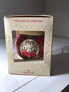 """Hallmark 1979 """"the Light Of Christmas"""" Glass Ball Ornament In Orig Box Candles"""