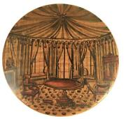 Antique Penwork Treen Snuff Box Interior Scene And Four Poster Bed Sycamore