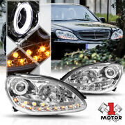 Chrome Halo Projector Headlight Led Drl Amber Turn Signal For 00-06 W220 S-class