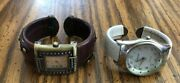 Vintage Lot Of 2 Geneva Platinum Watches White And Brown With Black And Studs