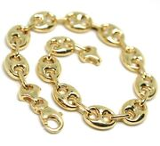 18k Yellow Gold Mariner Bracelet Big 10 Mm 8.3 Inches Anchor Rounded Oval Link