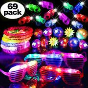69 Pieces Led Light Up Toys Glow In The Dark Party Favor Supplies For Kids Teens